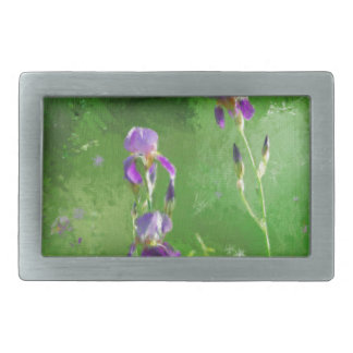 Row Of Irises Rectangular Belt Buckle