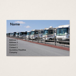 row of new recreational vehicles business card