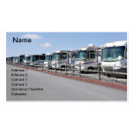 row of new recreational vehicles business card template