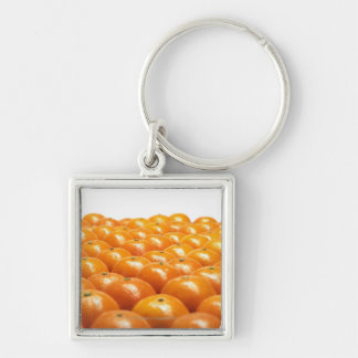 Row of oranges Silver-Colored square keychain