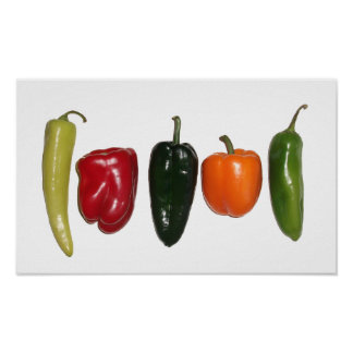 Row of Peppers Poster