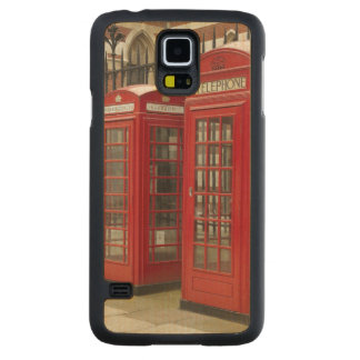 Row of phone boxes at the back of the Royal Carved® Maple Galaxy S5 Slim Case