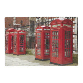 Row of phone boxes at the back of the Royal Laminated Place Mat