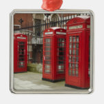 Row of phone boxes at the back of the Royal Christmas Ornaments