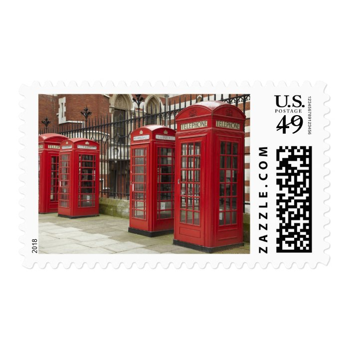 Row of phone boxes at the back of the Royal Postage Stamp