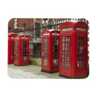 Row of phone boxes at the back of the Royal Rectangular Photo Magnet