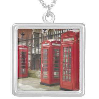 Row of phone boxes at the back of the Royal Silver Plated Necklace