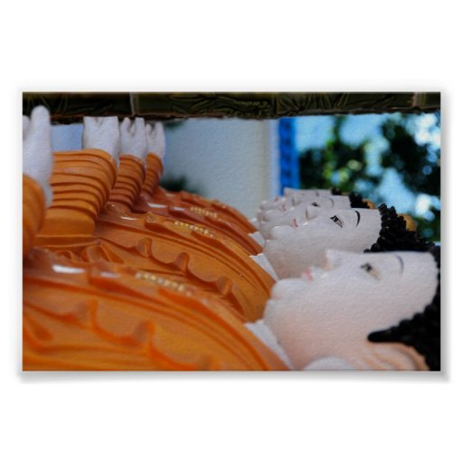 Row of pottery Buddhas Posters