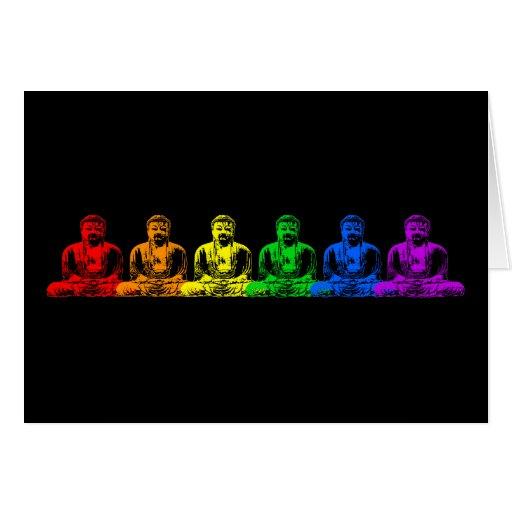 Row of Rainbow Buddhas Card