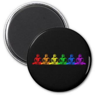 Row of Rainbow Buddhas Magnet