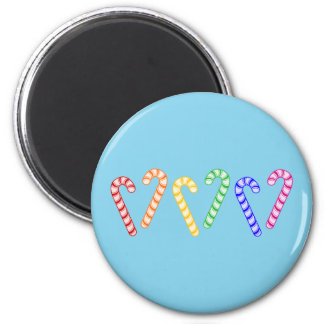 Row of Rainbow Candy Canes 2 Inch Round Magnet