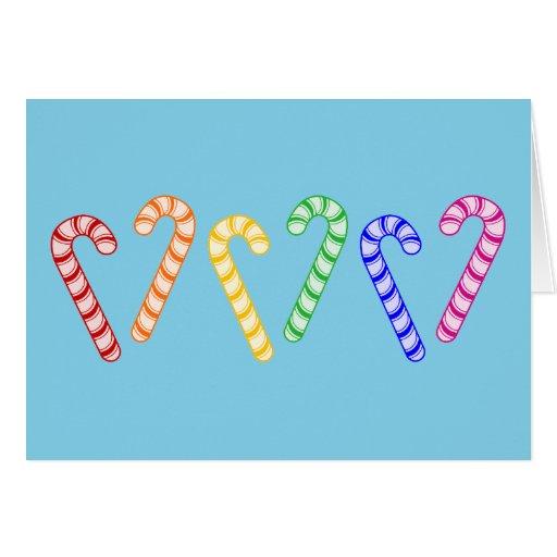 Row of Rainbow Candy Canes Card