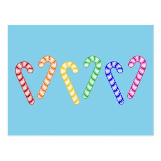 Row of Rainbow Candy Canes Postcard