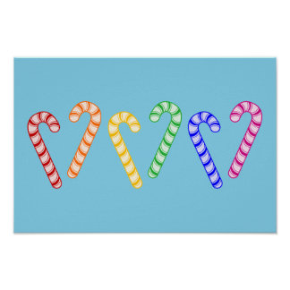 Row of Rainbow Candy Canes Poster