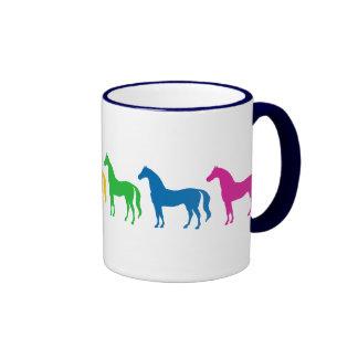 Row of Rainbow Color Horses Coffee Mug