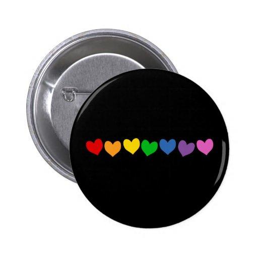 Row of Rainbow Hearts Pinback Button
