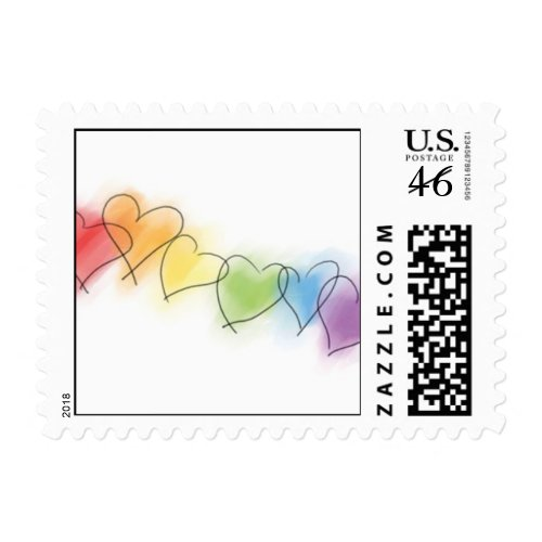 Row of Rainbow Hearts Postage Stamps stamp
