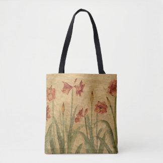 Row of Red Amaryllis Tote Bag