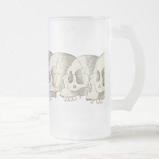Row of Skulls Frosted Glass Beer Mug