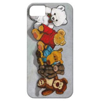 Row Of Stuffed Animals: Oil Pastel Painting iPhone SE/5/5s Case