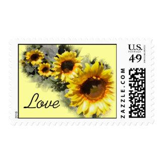 Row of Sunflowers Love Postage Stamp