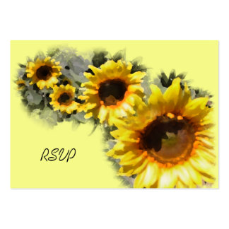Row of Sunflowers Wedding RSVP Response Card Large Business Card