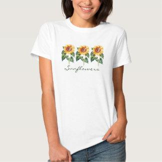 Row of Sunflowers Yellow Garden Flower Custom Word T Shirt