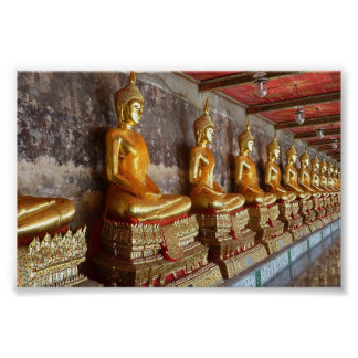 Row of Thai Buddha images Poster