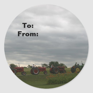 Row of Tractors Christmas Gift Tag