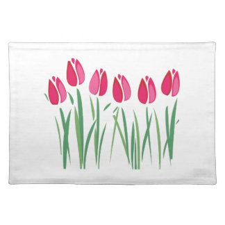 Row Of Tulips Cloth Placemat