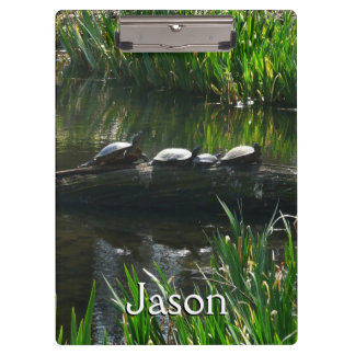 Row of Turtles Green Nature Photo Clipboard