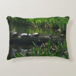 Row of Turtles Green Nature Photo Decorative Pillow