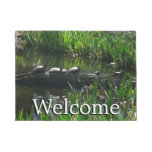 Row of Turtles Green Nature Photo Doormat