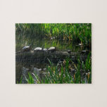 Row of Turtles Green Nature Photo Jigsaw Puzzle