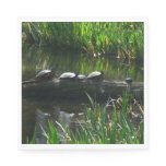 Row of Turtles Green Nature Photo Paper Napkin