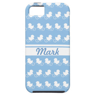 row of white ducks in blue  iPhone 5 Case-Mate