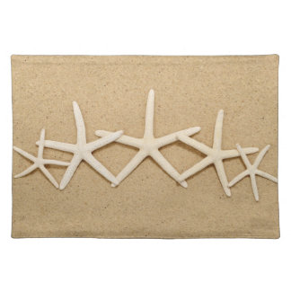 Row of White Starfish Cloth Placemat