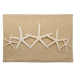 Row of White Starfish Place Mats