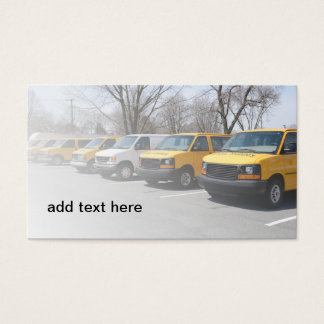 row of yellow and white school vans or mini-buses business card