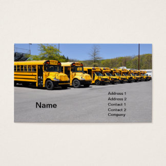 row of yellow school buses business card