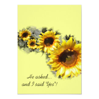 Row of Yellow Sunflowers Engagement Party Card