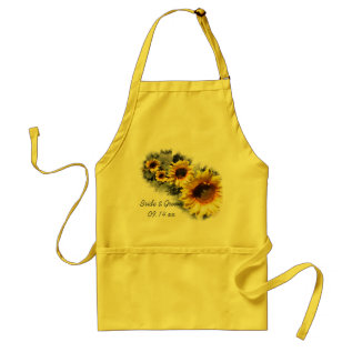 Row Of Yellow Sunflowers Garden Wedding Adult Apron at Zazzle