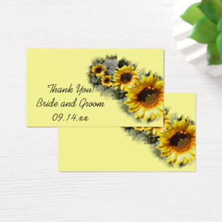 Row of Yellow Sunflowers Garden Wedding Favor Tags