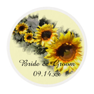 Row of Yellow Sunflowers Wedding Edible Frosting Rounds