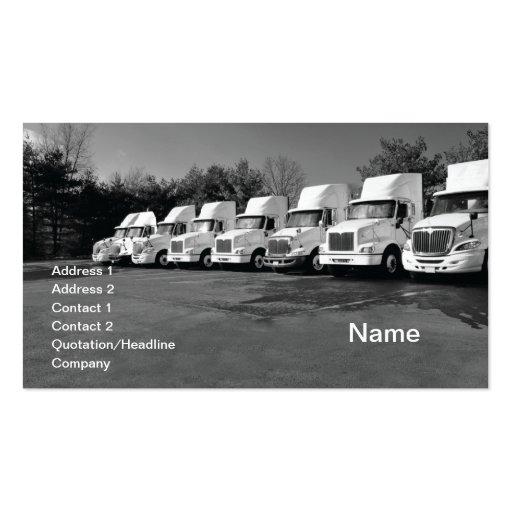 row or fleet of large trucks business card