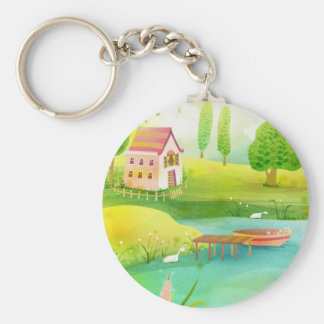 row row your boat basic round button keychain