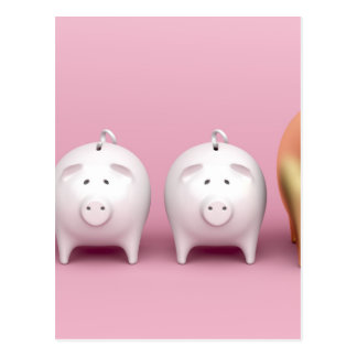 Row with piggy banks on pink background postcard