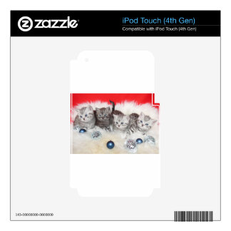 Row young tabby cats on sheep skin with christmas decals for iPod touch 4G