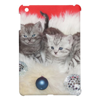 Row young tabby cats on sheep skin with christmas iPad mini case