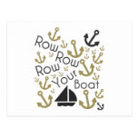 Row Your Boat Black & Gold Postcard